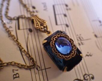 Montana Sapphire Pendant ~ Vintage Style ~ Navy Blue ~ Pendant ~ Vintage Glass - Indigo Blue ~ By LadyofTheLakeJewels