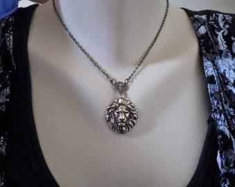 Lion Necklace ~ Vintage Style ~ Lion Pendant ~ Renaissance Pendant ~ by LadyofTheLakeJewels