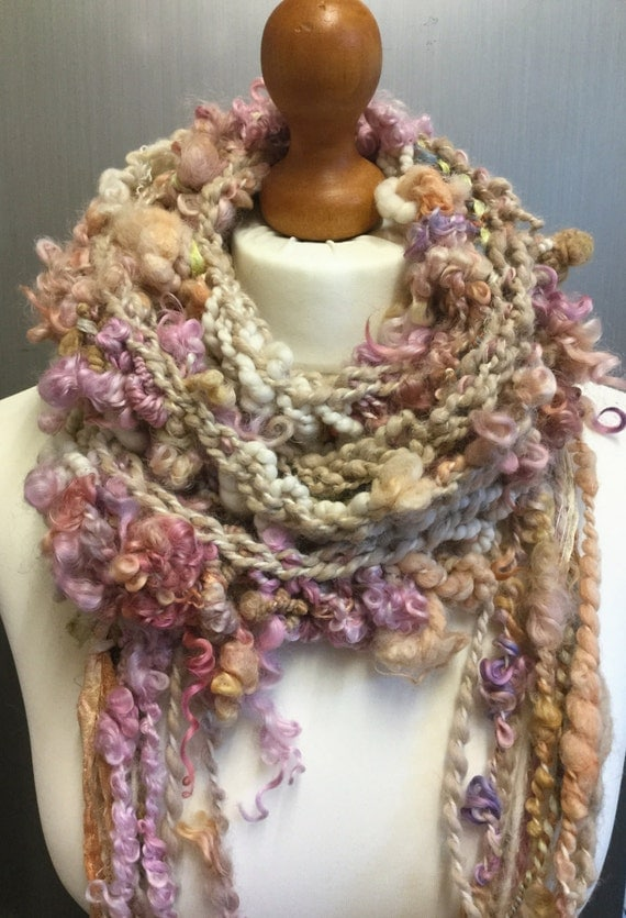 Hand knitted art yarn oversized skinny lariat/scarf. by ...