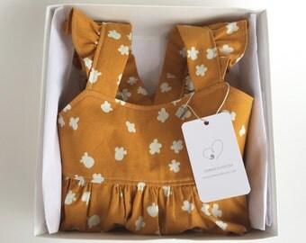 Girls Flutter Sleeve Dress- Caramel Popcorn