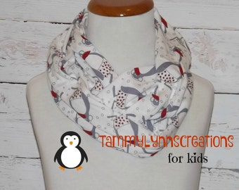 PENGUIN Red and Gray Scarf Infinity Scarf Jersey Knit Child's Kid's Accessories