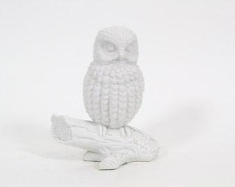 Vintage White Bisque Owl Figurine