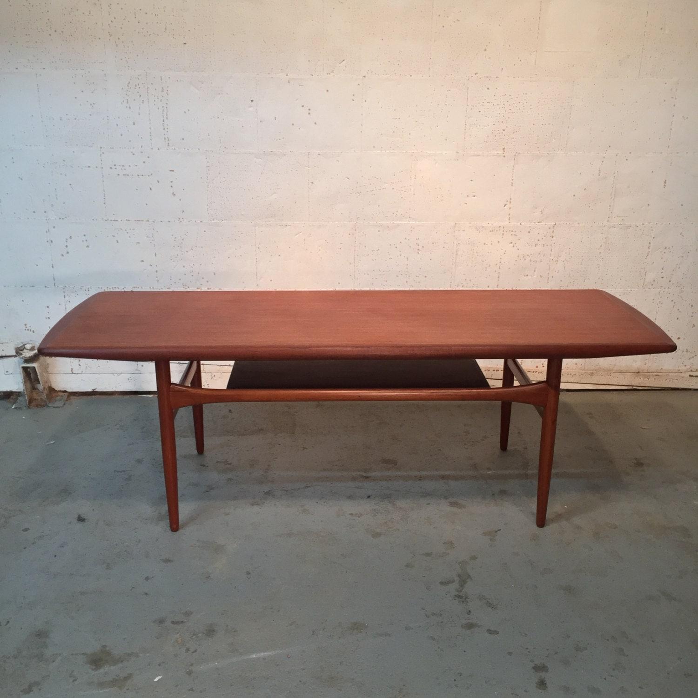 Vintage Danish Mid Century Modern Teak Coffee Table By