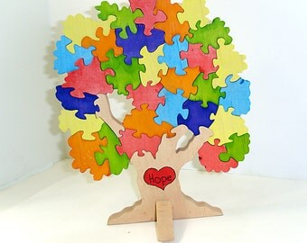 The Hope Tree for Autism Awareness Wooden 3D Puzzle