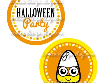 "Candy Corn Halloween Party Circles 4.5"" Digital Files Party Printables DIY"