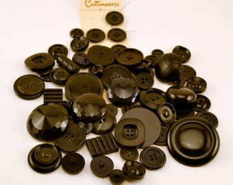 Vintage black buttons (75) craft supplies//sewing supplies