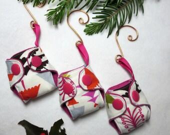 "Mini Cloth Diaper Christmas Ornament- Pink Christmas Trees print- 2"" diaper Key chain or tree decoration, Cloth diaper keychain ornament"