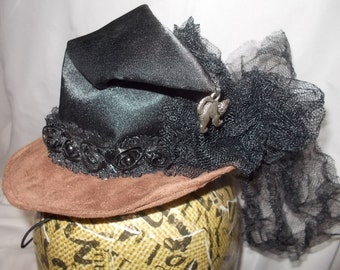 Mini Witch Hat Halloween Costume Brown Black Cat