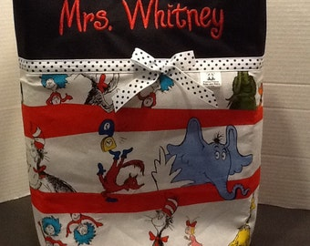 Personalized  ribbon tote bag made with Dr. Seuss fabric