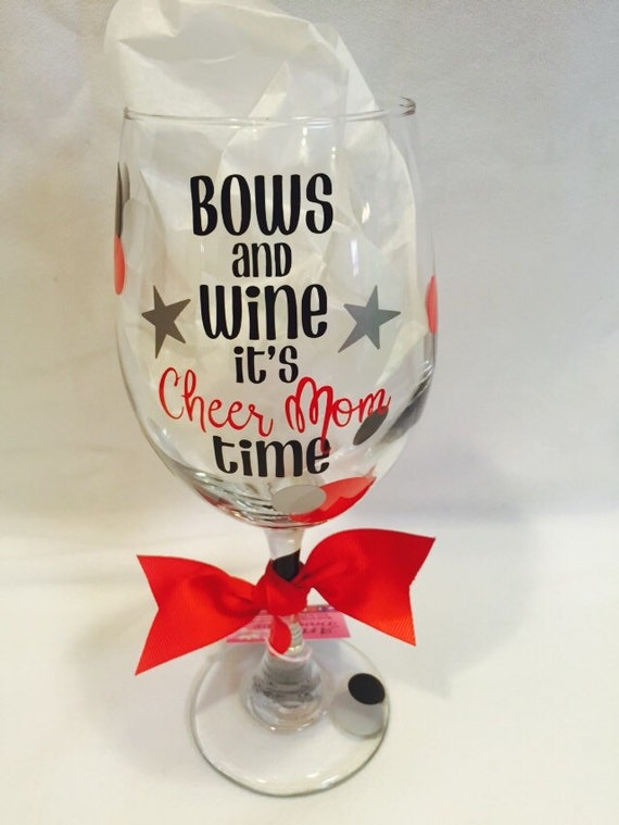 Cheer Mom Wine Glass Bows And Wine Its Cheer Mom Time Cheer-9851