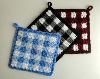 Plaid Potholder - Gingham Potholder - Plaid Pot Holder - Checked Potholder - Crochet Pot Holder