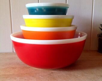 1970s stunning JAJ Pyrex Rainbow Bowls -Full Set  Teal-Yellow-Orange-Red - Hard to find Pyrex- including the stunning hard to find Red Bowl