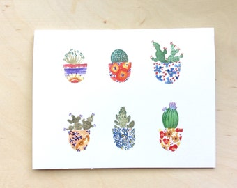 Cactus pots greeting card 4.25x5.5 blank inside