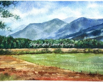Great Smoky Mountains, Cades Cove - Original Landscape Painting -Impressionist Watercolor - Fine Art - Meadow, Trees - Laurie Gray Studio
