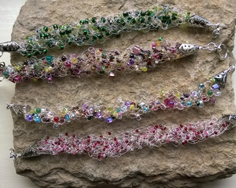 Crochet wire and bead bracelet - various colours