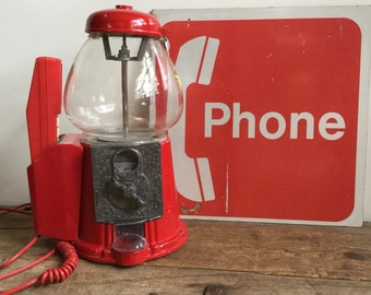 Vintage Carousel Telephone Candy Machine Red Novelty Touch Tone Phone