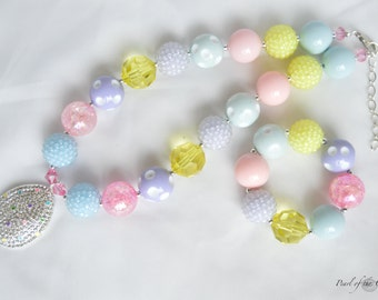 Easter egg pastel chunky necklace bracelet baby toddler girl cross light blue yellow purple pink statement necklace spring first birthday