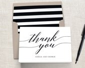 Printable MODERN SCRIPT Thank You Cards - Easy to Personalize with Your Name