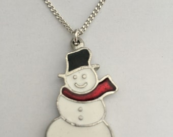 Snowman Necklace in English Pewter, Handmade, Gift Boxed, Xmas (h-24)