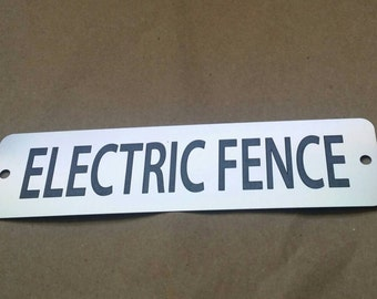Electric Fence Metal Sign - Etched Stainless Steel,  Simple Front Door Signage, Durable, Magnetic or Screws