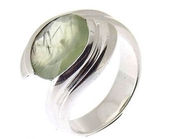 925 Sterling Silver Prehnite Handmade Rings, Us Size 8.25, Pc. 1
