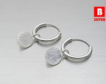 925 Sterling Silver Hoop Earrings, Circle Brushed Earrings, Hoop Earrings (Code : CH6)