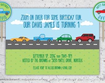 Zoom On Over Cars & Trucks Kid's Birthday Invitation And Cupcake Rounds   Download Printable   Boy Birthday Party Custom Invitation + Decor