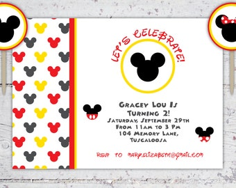 Mickey And Minnie Mouse Birthday Invitation And Cupcake Rounds   Print-It-Yourself   Digital Download   Printable   Custom Invitation
