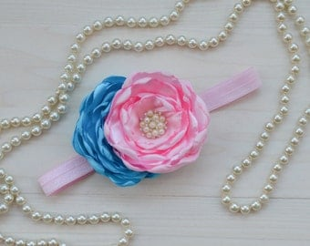 Baby's first birthday headband, Pink and turquoise baby headband, big flower headband