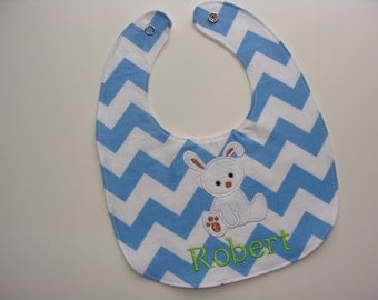 Personalized baby bib spring or Easter bunny - new mom or baby shower gift