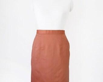 HALF PRICE Vintage Skirt / Neon Orange Skirt / High Waist Skirt / Pencil Skirt / Bright Skirt / Sharp Skirt / Size S M