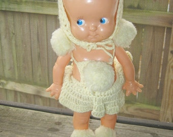 Hard Plastic Doll, Vintage, Handmade Clothes, Eyes That Close, Arms Move Up And Down, Made In The USA, Irwin Makers Mark