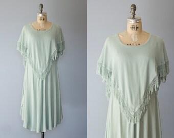 RAYANNE dress | Vintage 1990s mint maxi dress with fringe