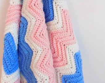 Vintage Handmade Baby Blanket Pink White Blue Baby Afghan Color Blocked Zig Zag Design