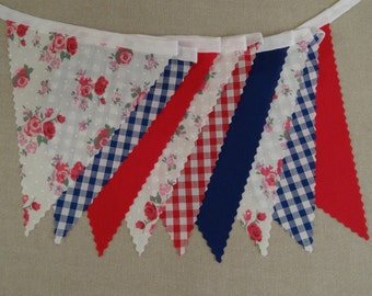 5 Metre Length - Roses Gingham Red Blue on White Cotton Tape - Birthday Party Celebration