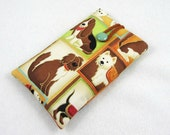 Cotton cell phone cover, fabric phone sleeve, dog phone case, smartphone sleeve, padded phone pouch