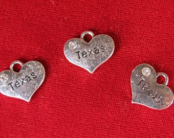 "5pc ""Texas"" charms in silver plated (BC1090)"