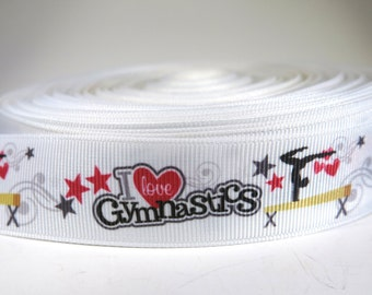 "5 yards of 1 inch ""I love gymnastics"" grosgrain ribbon"