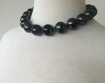 Black Metalic Bead Necklace