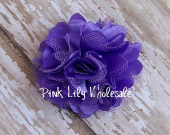 TWO Mini Satin Mesh Flowers - TWO Deep Lavender - Small Flower - Craft Flower - Wholesale Flower - Craft Supplies -DIY