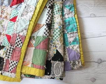 Vintage Hand Made Patchwork Quilt, Vintage Hand Pieced Squares Quilt