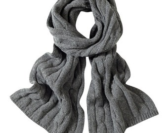 Soft grey cable lambswool scarves. Knitted in Scotland