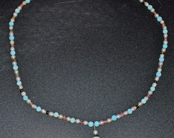 19-1/2 inch Sterling Silver Necklace with Peruvian Blue Opal, Tourmaline and Peachy FW Pearls