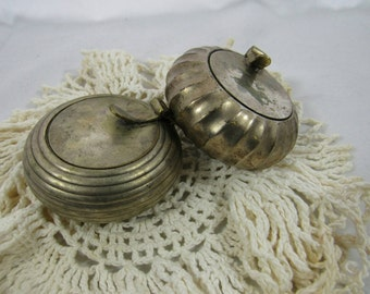 Vintage Pewter Candle Holders Votives Set of 2 Made in India