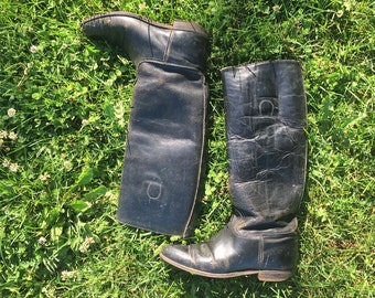 Vintage Equestrian Black Leather Riding Boots
