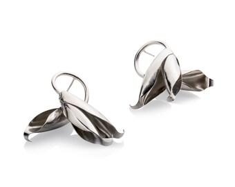 Big Leaf Earrings - Leaf Earrings Silver -  Leaf Earrings for her
