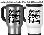 Wishing I Was Fishing, Angler, Catching Fish, Fisherman, Bass, Go Fish, Hobby Fishing, Typography 14 oz Stainless Steel Travel Mug