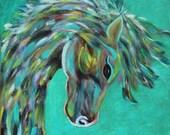 Giclee PRINT 5x7 Abstract Horse Equestrian Original Painting Acrylic Animal Art Minimalist Nature Wildlife Contemporary Wall Art Cowboy