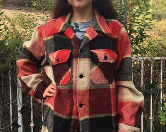 Woolrick, wool jacket, red plaid, red, tan, black, size large, Woolrick coat, coat
