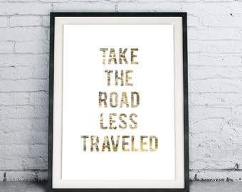 Take The Road Less Traveled poster, DIY Instant Download Printable Quote Art, minimalist travel map, graduation gift, modern map home decor